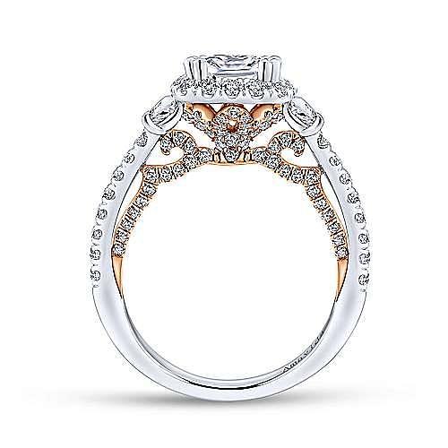 18K White-Rose Gold Cushion Halo Three Stone Diamond Engagement Ring