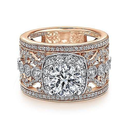 18K White/Rose Gold Diamond Engagement Ring
