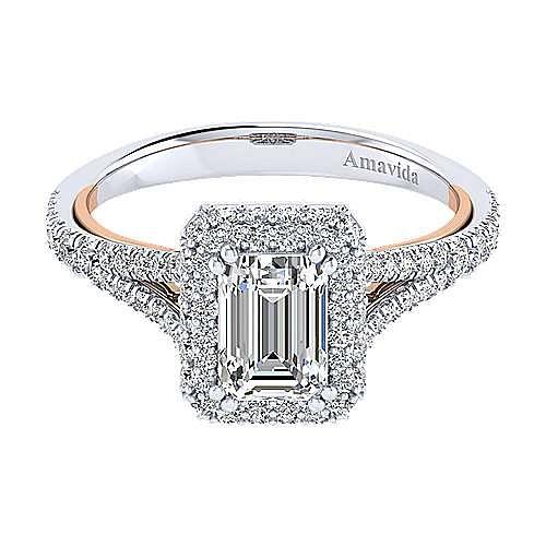 18K White-Rose Gold Double Halo Emerald Cut Diamond Engagement Ring