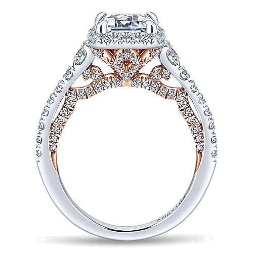 18K White-Rose Gold Halo Emerald Cut Diamond Engagement Ring