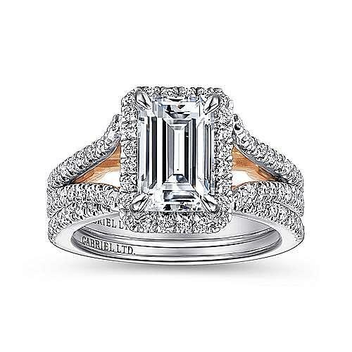 18K White-Rose Gold Halo Emerald Cut Diamond Engagement Ring
