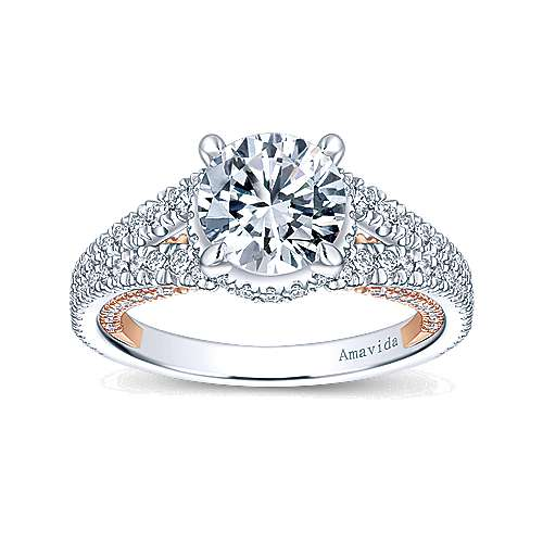 18K White-Rose Gold Halo Engagement Ring