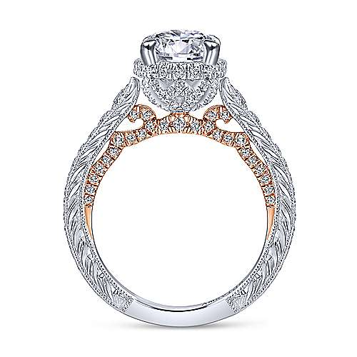 18K White-Rose Gold Hidden Halo Round Diamond Engagement Ring