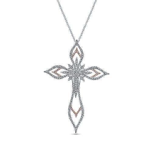 18K White-Rose Gold Openwork Diamond Cross Pendant Necklace