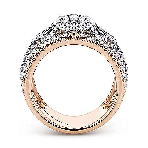 18K White-Rose Gold Openwork Wide Band Diamond Ring