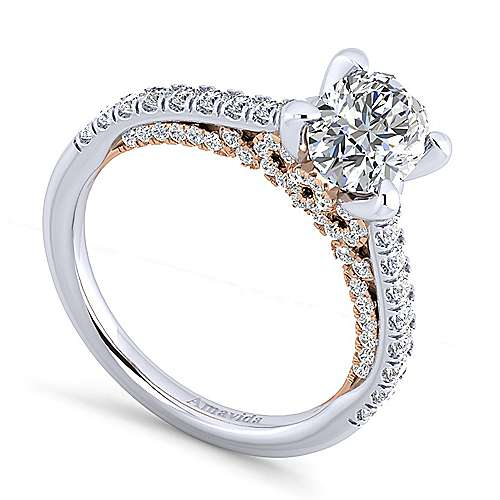 18K White-Rose Gold Oval Diamond Engagement Ring