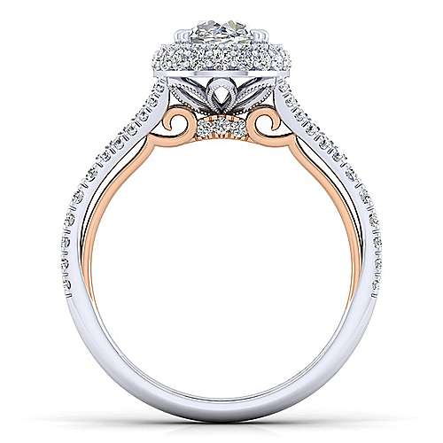 18K White-Rose Gold Oval Double Halo Diamond Engagement Ring