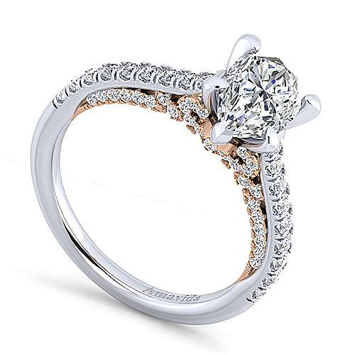18K White-Rose Gold Pear Shape Diamond Engagement Ring