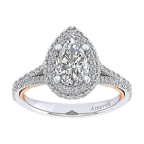 18K White-Rose Gold Pear Shape Double Halo Diamond Engagement Ring