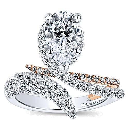 18K White-Rose Gold Pear Shape Halo Diamond Engagement Ring