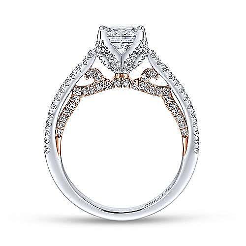 18K White-Rose Gold Princess Cut Split Shank Diamond Engagement Ring