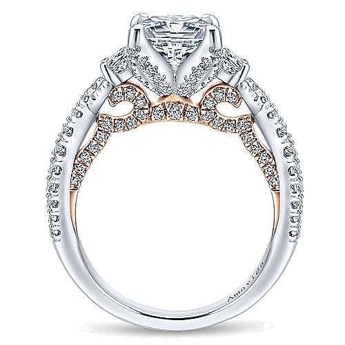 18K White-Rose Gold Princess Cut Three Stone Diamond Engagement Ring