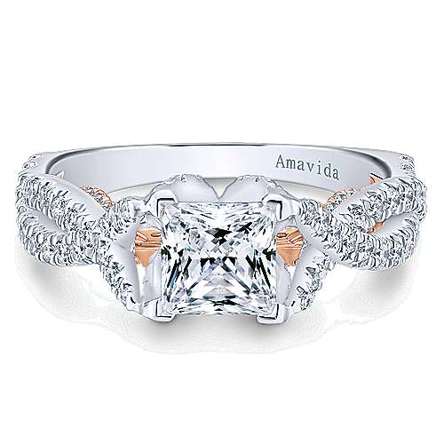 18K White-Rose Gold Princess Cut Twisted Diamond Engagement Ring