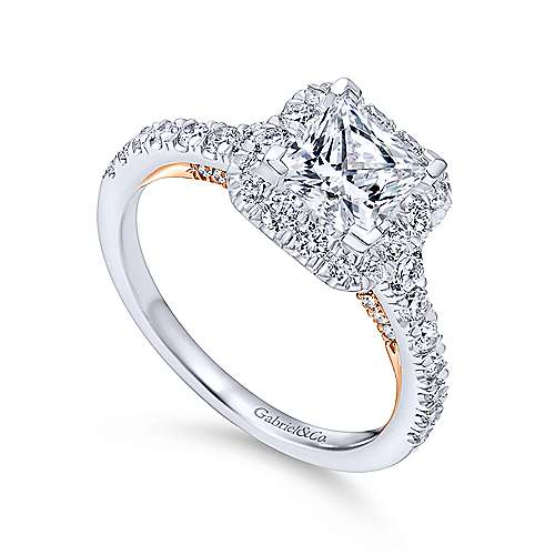 18K White-Rose Gold Princess Halo Diamond Engagement Ring