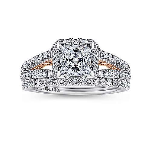 18K White-Rose Gold Princess Halo Diamond Engagement Ring