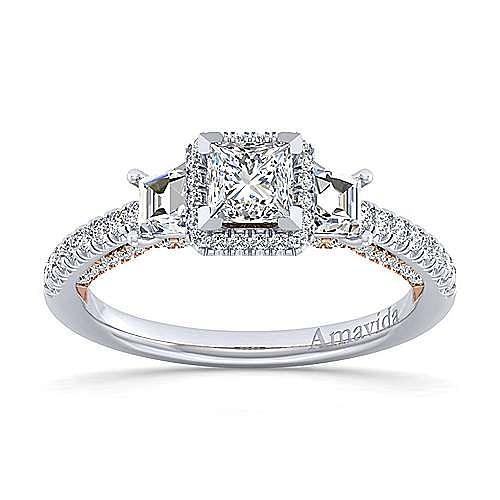 18K White-Rose Gold Princess Halo Three Stone Diamond Engagement Ring