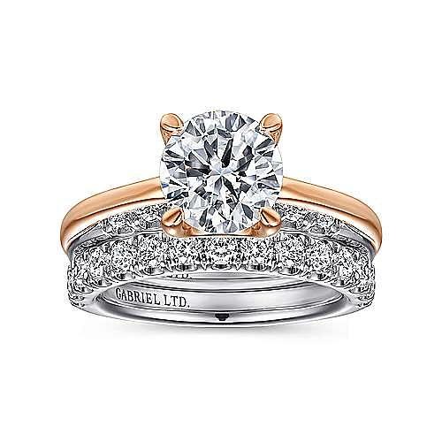 18K White-Rose Gold Round Diamond Engagement Ring