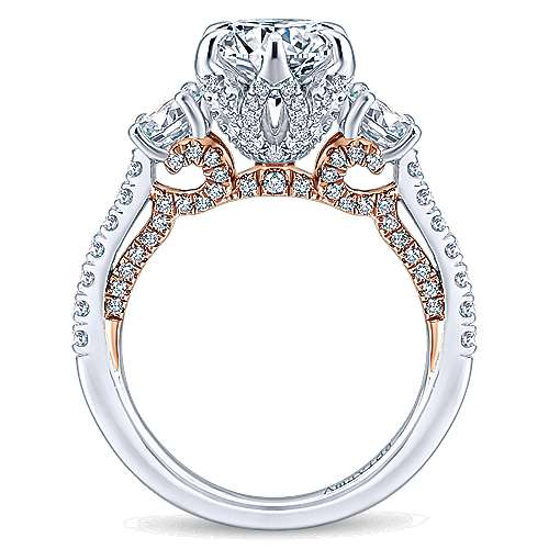 18K White-Rose Gold Round Diamond Three Stone Engagement Ring