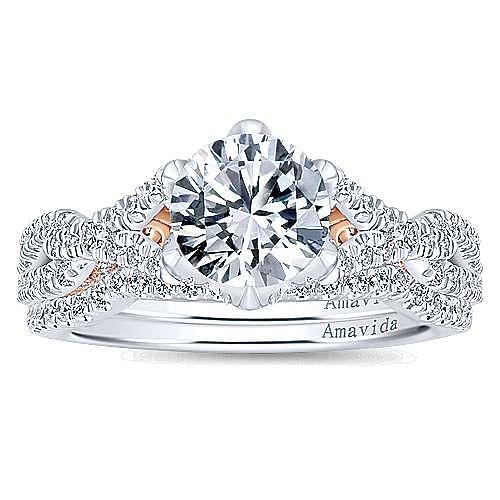 18K White-Rose Gold Round Diamond Twisted Engagement Ring