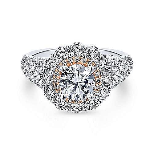 18K White-Rose Gold Round Double Halo Diamond Engagement Ring