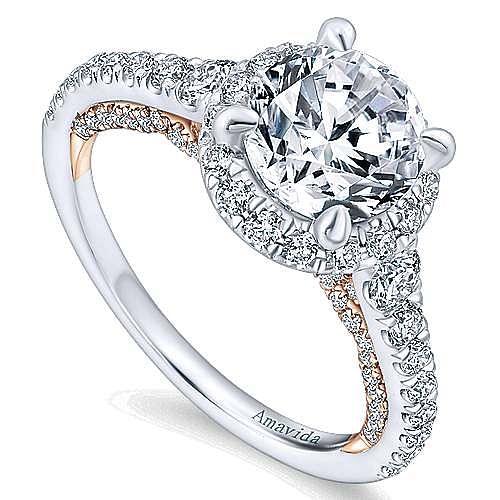 18K White-Rose Gold Round Halo Diamond Engagement Ring