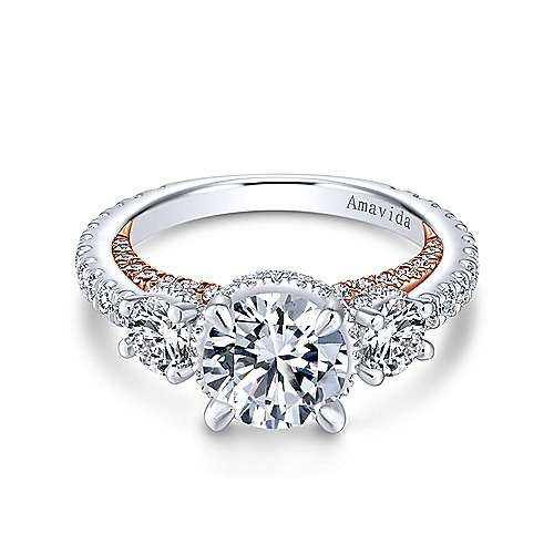 18K White-Rose Gold Round Three Stone Diamond Engagement Ring
