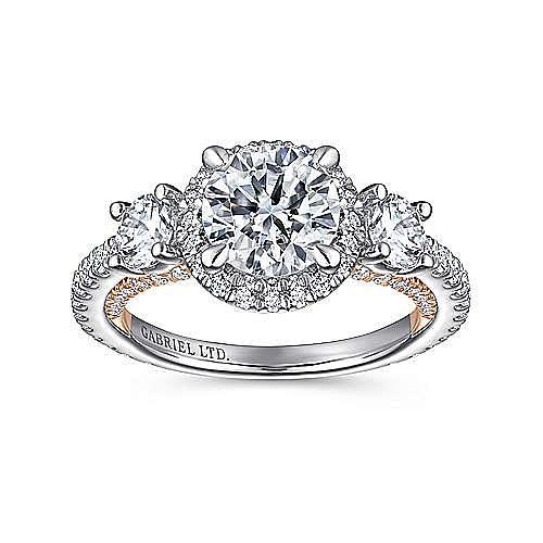 18K White-Rose Gold Round Three Stone Engagement Ring