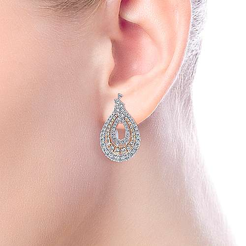 18K White-Rose Gold Triple Teardrop Diamond Huggie Earrings
