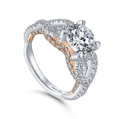 18K White-Rose Gold Twisted Round Diamond Engagement Ring