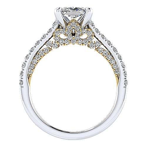 18K White-Yellow Gold Cushion Cut Diamond Engagement Ring