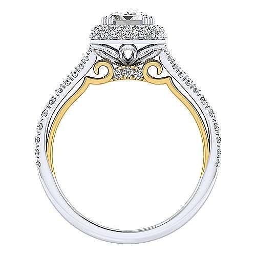 18K White-Yellow Gold Double Halo Emerald Cut Diamond Engagement Ring