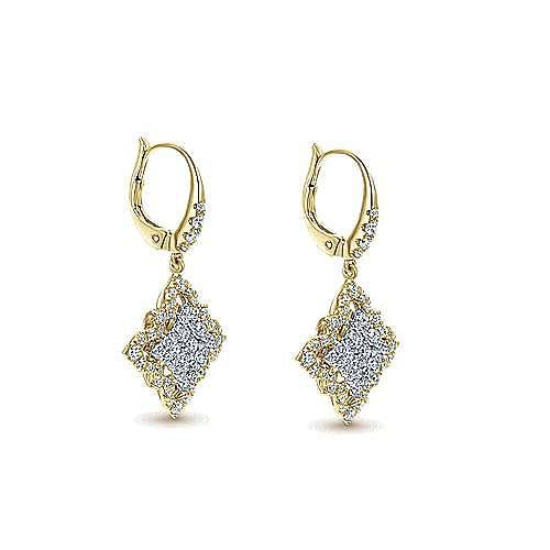18K White-Yellow Gold Floral Diamond Drop Earrings