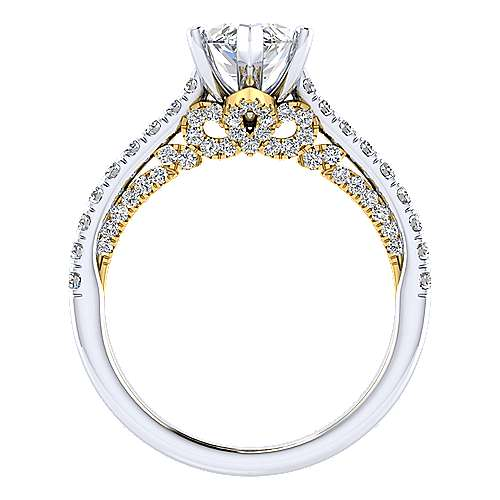 18K White-Yellow Gold Marquise Shape Diamond Engagement Ring