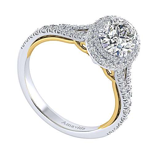 18K White-Yellow Gold Oval Double Halo Diamond Engagement Ring