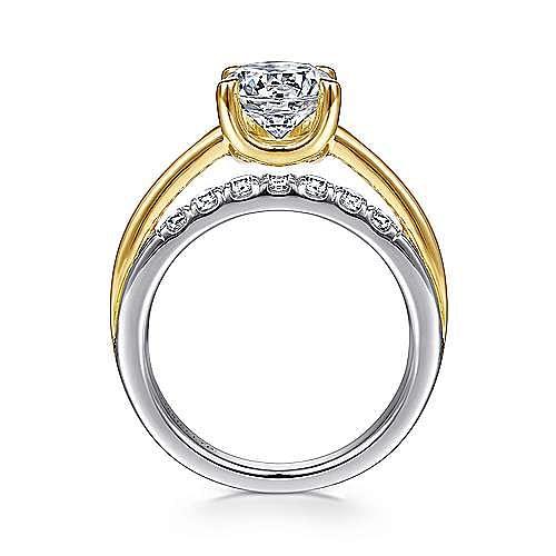 18K White-Yellow Gold Round Diamond Engagement Ring