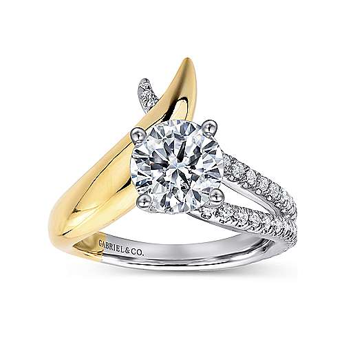 18K White-Yellow Gold Round Diamond Free Form Engagement Ring