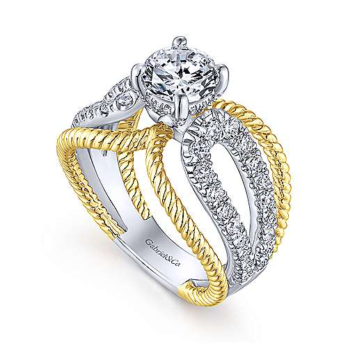 18K White-Yellow Gold Round Diamond Split Shank Engagement Ring