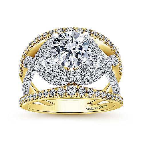 18K White-Yellow Gold Round Halo Diamond Engagement Ring