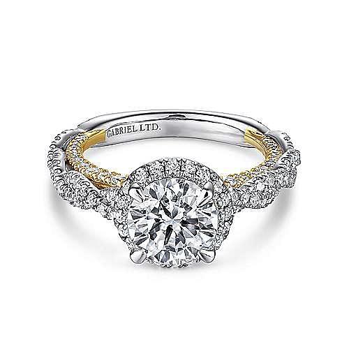 18K White-Yellow Gold Round Halo Diamond Engagement Ring