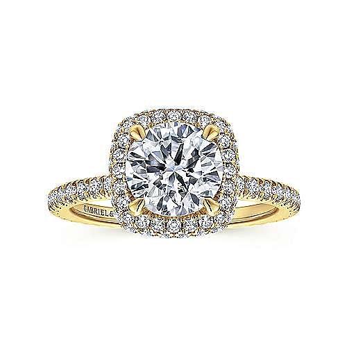18K Yellow Gold Cushion Halo Round Diamond Engagement Ring