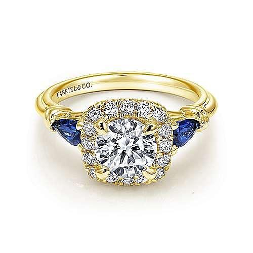 18K Yellow Gold Cushion Three Stone Halo Round Sapphire and Diamond Engagement Ring