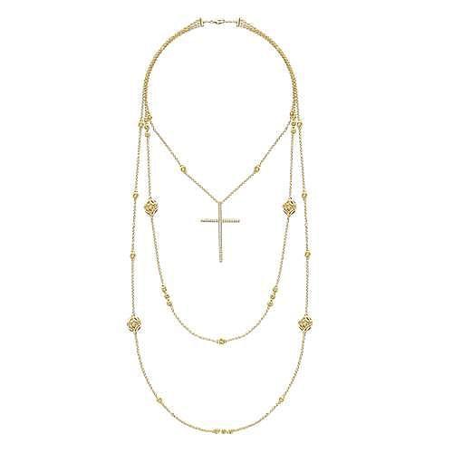 18K Yellow Gold Diamond Cross Pendant Necklace