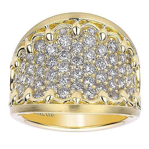 18K Yellow Gold Diamond Pavé Ring