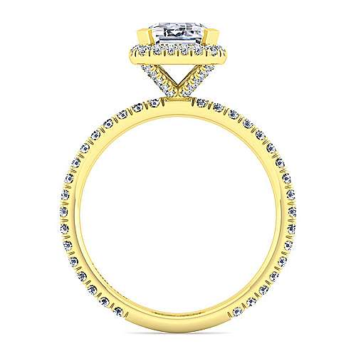 18K Yellow Gold Halo Emerald Cut Diamond Engagement Ring