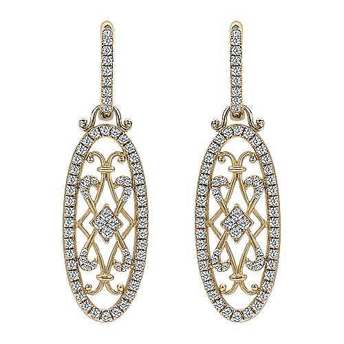 18K Yellow Gold Intricate Oval Filigree Diamond Drop Huggies
