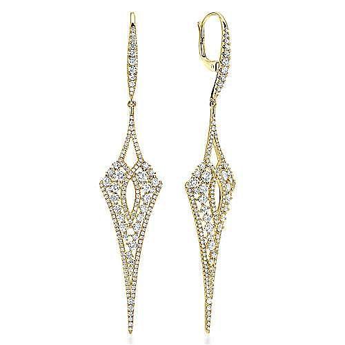 18K Yellow Gold Long Diamond Kite Drop Earrings