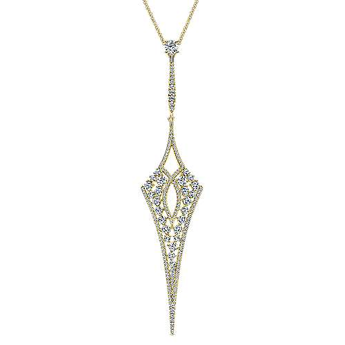 18K Yellow Gold Long Diamond Kite Shaped Pendant Necklace