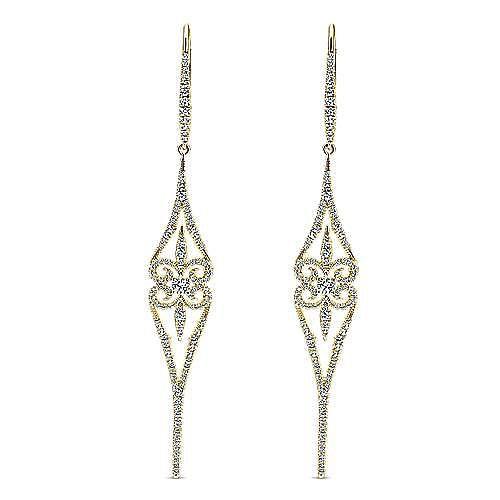 18K Yellow Gold Long Swirly Linear Drop Diamond Earrings