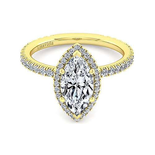18K Yellow Gold Marquise Halo Diamond Engagement Ring
