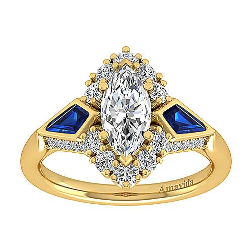 18K Yellow Gold Marquise Halo Sapphire and Diamond Engagement Ring